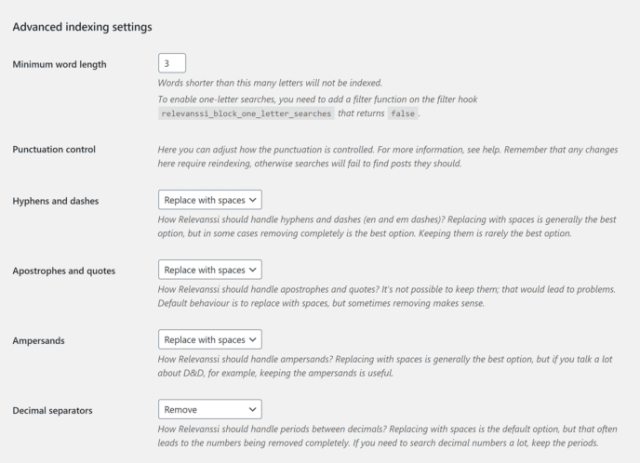 Advanced indexing Settings