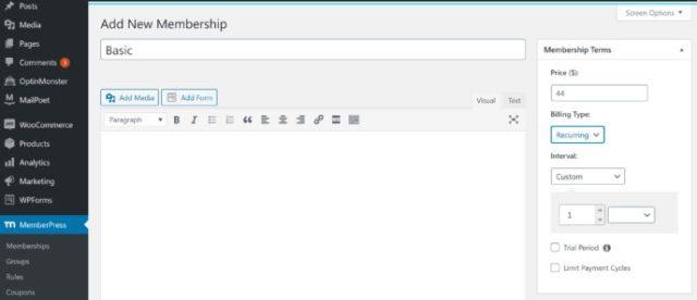MemberPress vs WP Courseware: Membership Creation 2