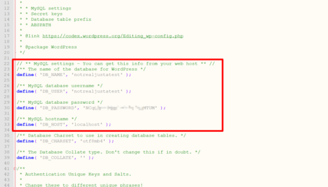 An example of database credentials in the wp-config.php file