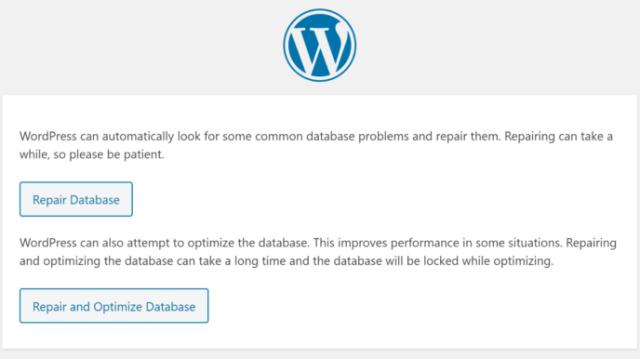 The WordPress database repair tool