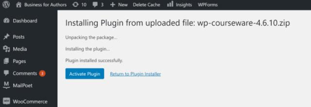 Activate plugin WP Courseware