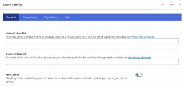 LifterLMS Lesson Settings