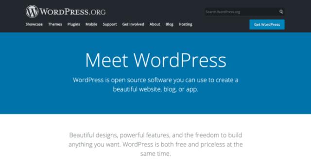 Squarespace vs WordPress: WordPress homepage