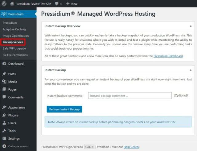 Pressidium backup from WordPress plugin