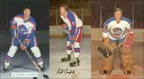 original Winnipeg Jets Scott Campbell, Morris Lukowich and Markus Mattsson.