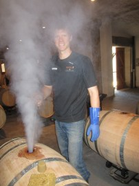 Matt adding some dry ice to the barrels during cold maceration