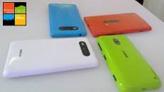 From Left to Right: WHite Lumia 829, Cyan Lumia 820, Red Lumia 920, Green dual shot Lumia 620