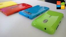 From Left to Right: Lumia 920 soft chell silione case, Red Lumia 920, Cyan Lumia 820, Green Dual shot Lumia 620