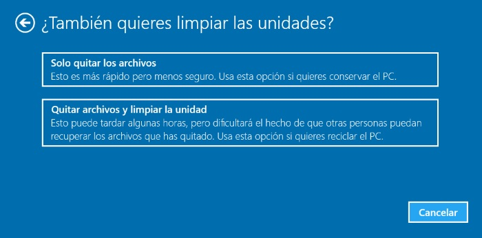 hard reset restaurar windows 10 borrando ficheros personales