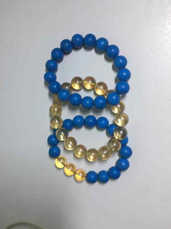 Blue and Gold Bead Bangles