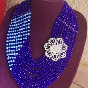 10 Layers Blue Crystal Necklace With Brooch