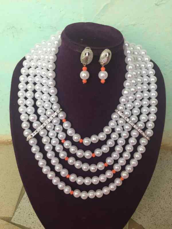 Five Layer Beaded Jewelry Set - White