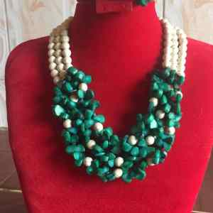 Exquisite Green and White Beaded Neckpiece