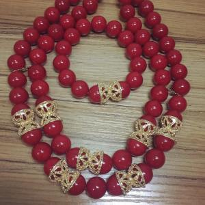 Beaded Necklace - Red
