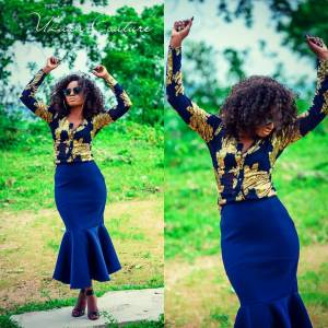 Navy Blue Flared Skirt and Shirt Blouse