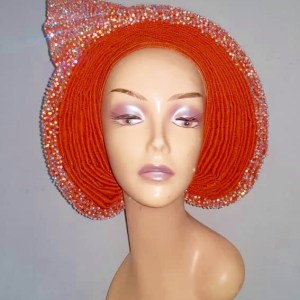 Orange Aso Oke Stone AutoGele - Ready To Wear Gele