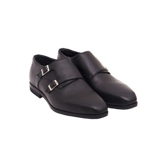 Mens Double Monk Leather Shoe - Black