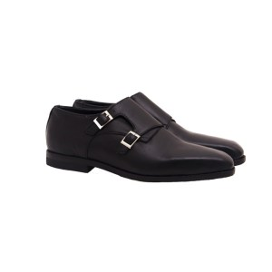 Mens Double Monk Leather Shoe – Black