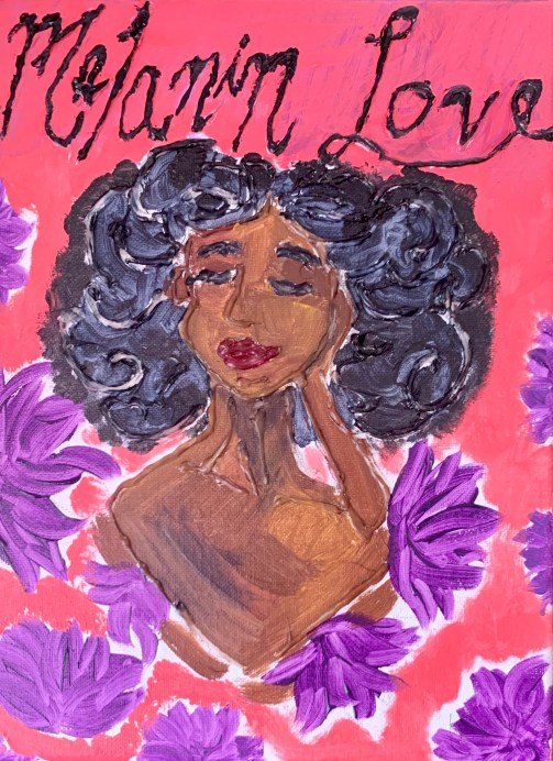 Hot glue art; black woman with flowers