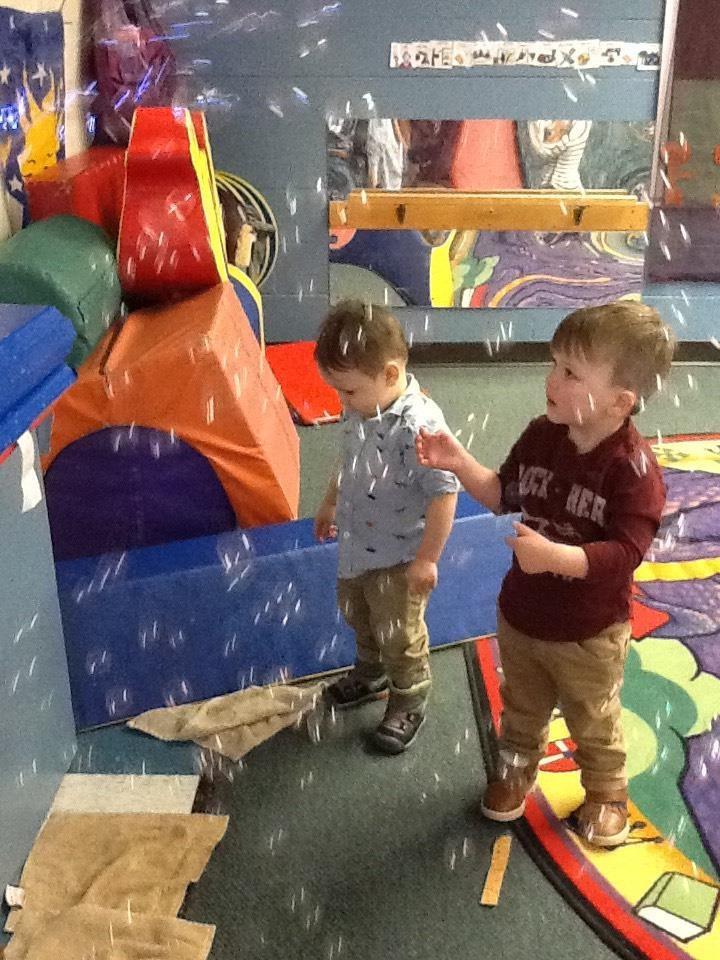 We love our bubble machine that Parent Mandi has let us borrow!