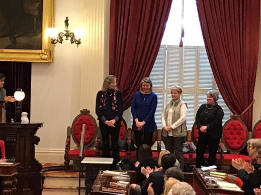 L to R: Susan Heimer, former toddler Lead Teacher; Chloe Learey, Executive Director; Ann Allbee, Board member; and Margaret Atkinson, Director of Development.