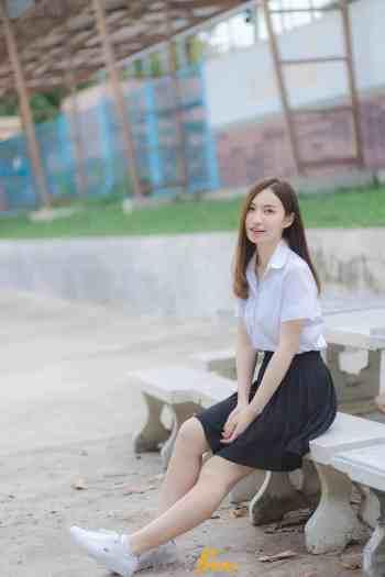 น้อง ฟาง Duangkamon Fang ชุดนักศึกษาเลย เซ็ทนี้ น่ารักจัง - Cup A
