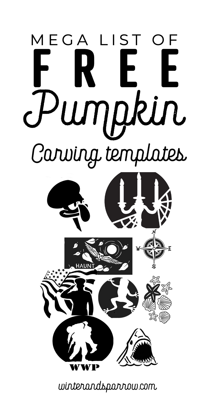 picture relating to Free Printable Pumpkin Templates identified as No cost Printable Pumpkin Stencils + Halloween Printables