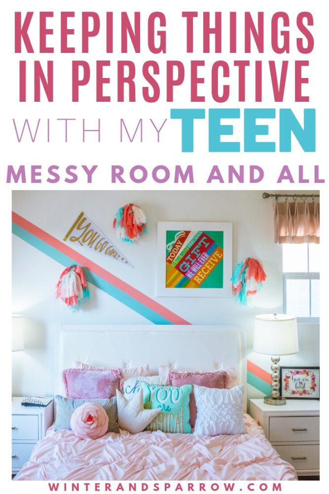 Keeping Things In Perspective With My Teen (Messy Room and All) and How You Can Too | winterandsparrow.com Picture of a girl's bedroom. Bed with pillows and bright colors on the wall.