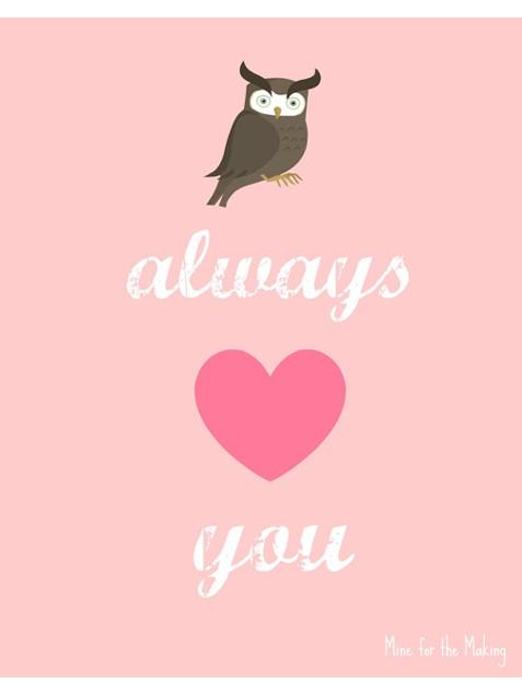 Owl Valentine Free Valentine's Day Printables winterandsparrow.com