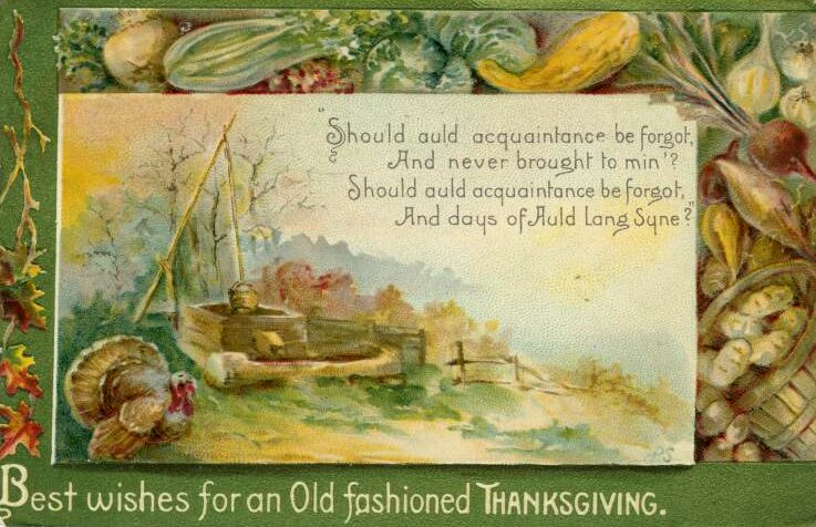 image relating to Auld Lang Syne Lyrics Printable identify 4 Typical Thanksgiving Postcards: Turkeys + Auld Lang Syne