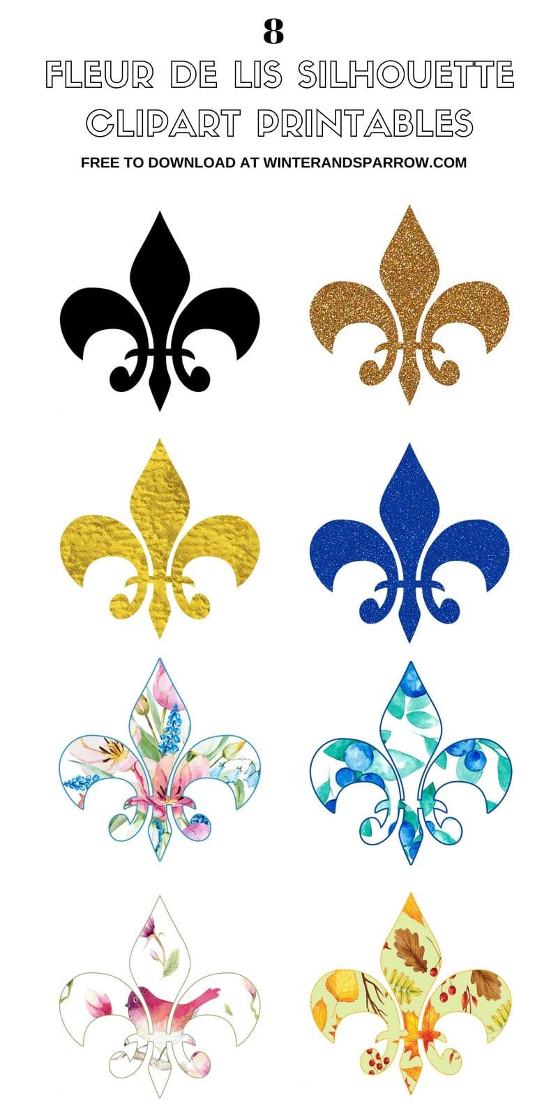 picture relating to Fleur De Lis Printable named The Background of Fleur de Lis + 8 Cost-free Fleur de Lis Silhouette