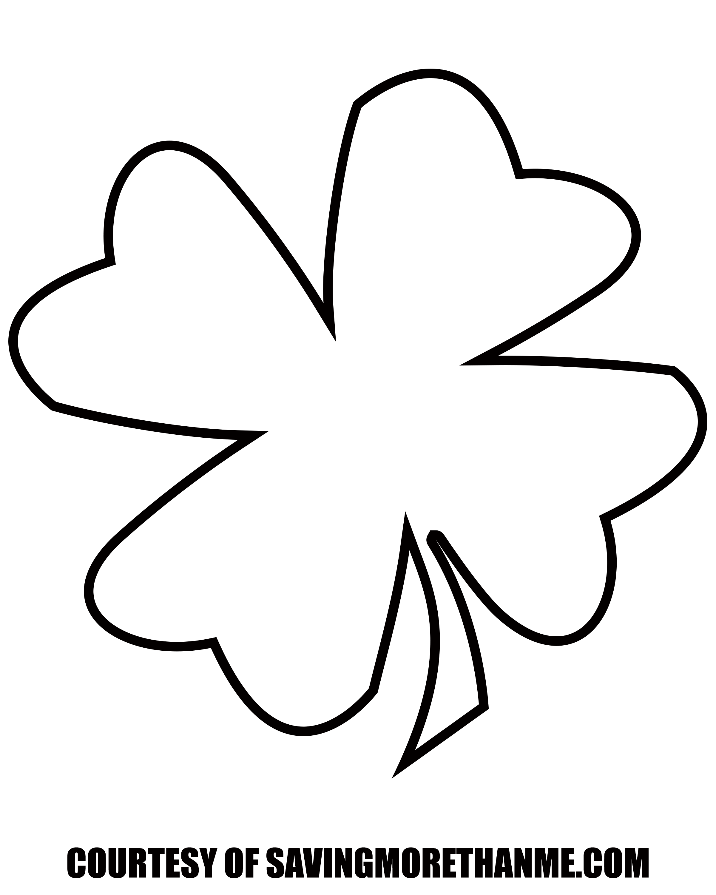 picture about Printable 4 Leaf Clover known as Cost-free St Patricks Working day Printables: coloring web pages, clover