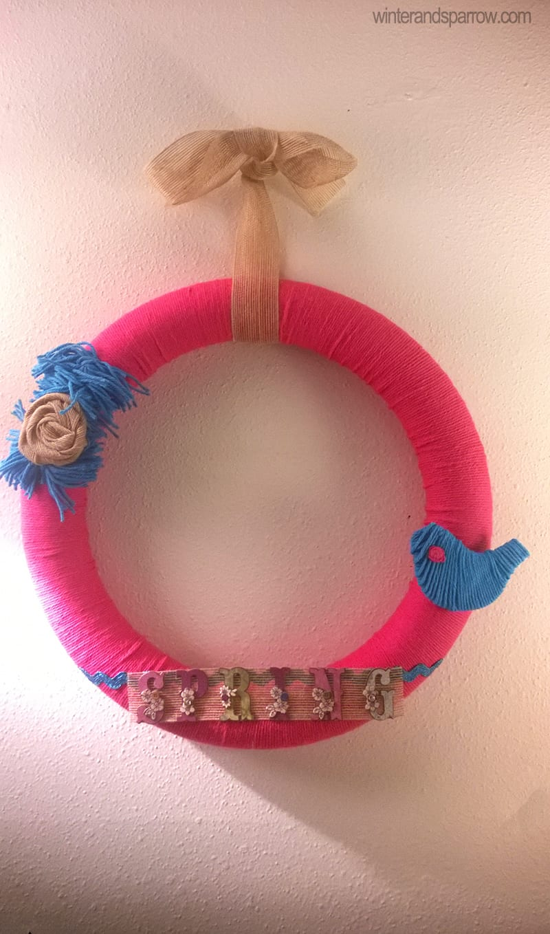 DIY:  Pink and Turquoise Spring Wreath