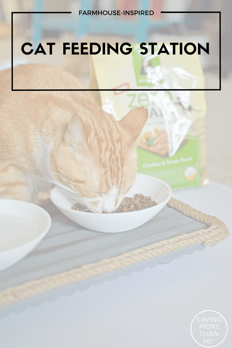Farmhouse-Inspired Cat Feeding Station #NutrishCatCrafts #DIY ad