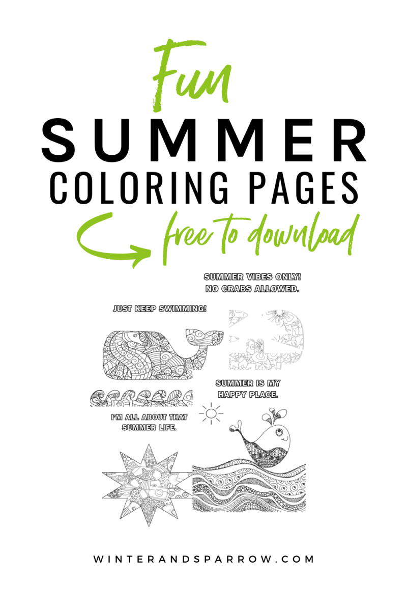 Four Free Summer Coloring Pages Summer Winterandsparrow Com