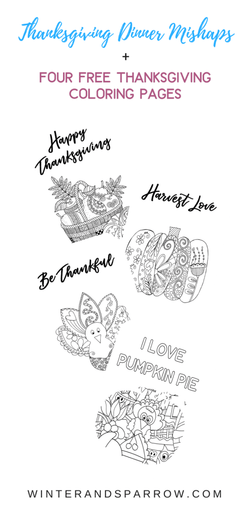Download four beautiful Thanksgiving coloring pages for free! Perfect for kids and grownups! | winterandsparrow.com #thanksgivingcoloringpages #thanksgivingcolorpageprintables #thanksgivingprintables #freethanksgivingcoloringpages
