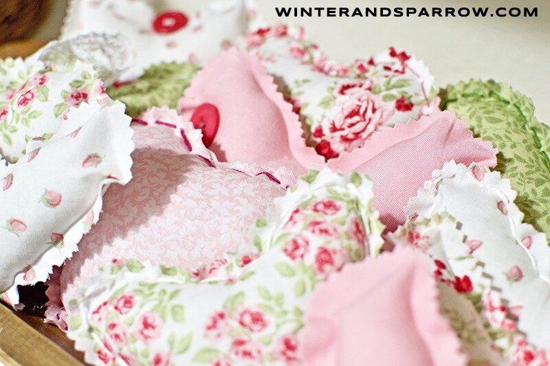 Handmade Fabric Hearts {w/Shabby Chic Fabric} + Free Heart Shape Template winterandsparrow.com