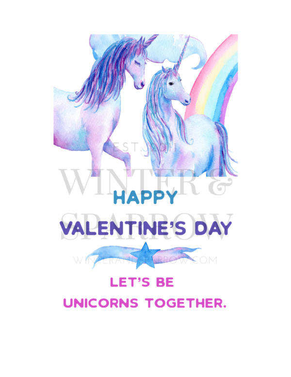 Magical Unicorn Valentine's Day Cards   Download for free at winterandsparrow.com #valentinecards #cutevalentine