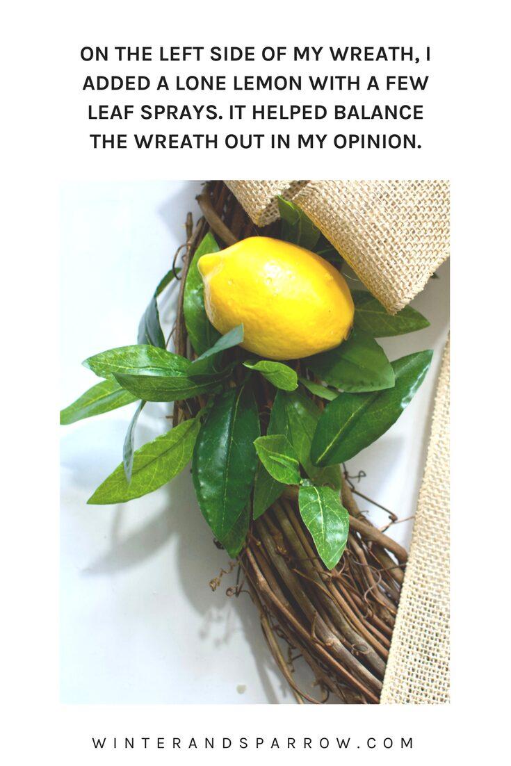 DIY Faux Lemon Wreath (for under $10) | winterandsparrow.com A perfect spring or summer wreath idea!