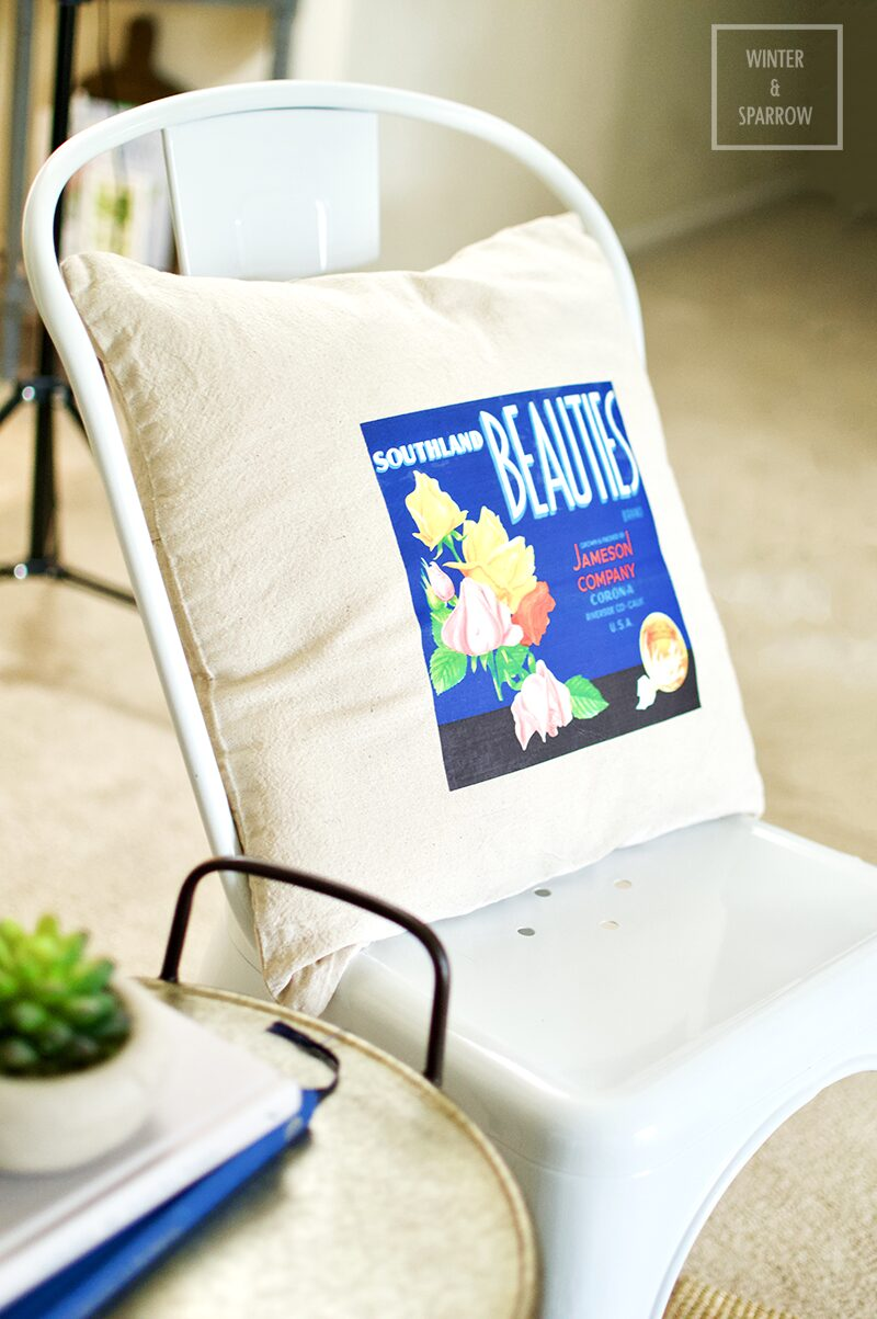 DIY:  Bright and Colorful Vintage Fruit Label Pillows #CraftRoomDestashChallenge | winterandsparrow.com #summerproject #summercraftideas