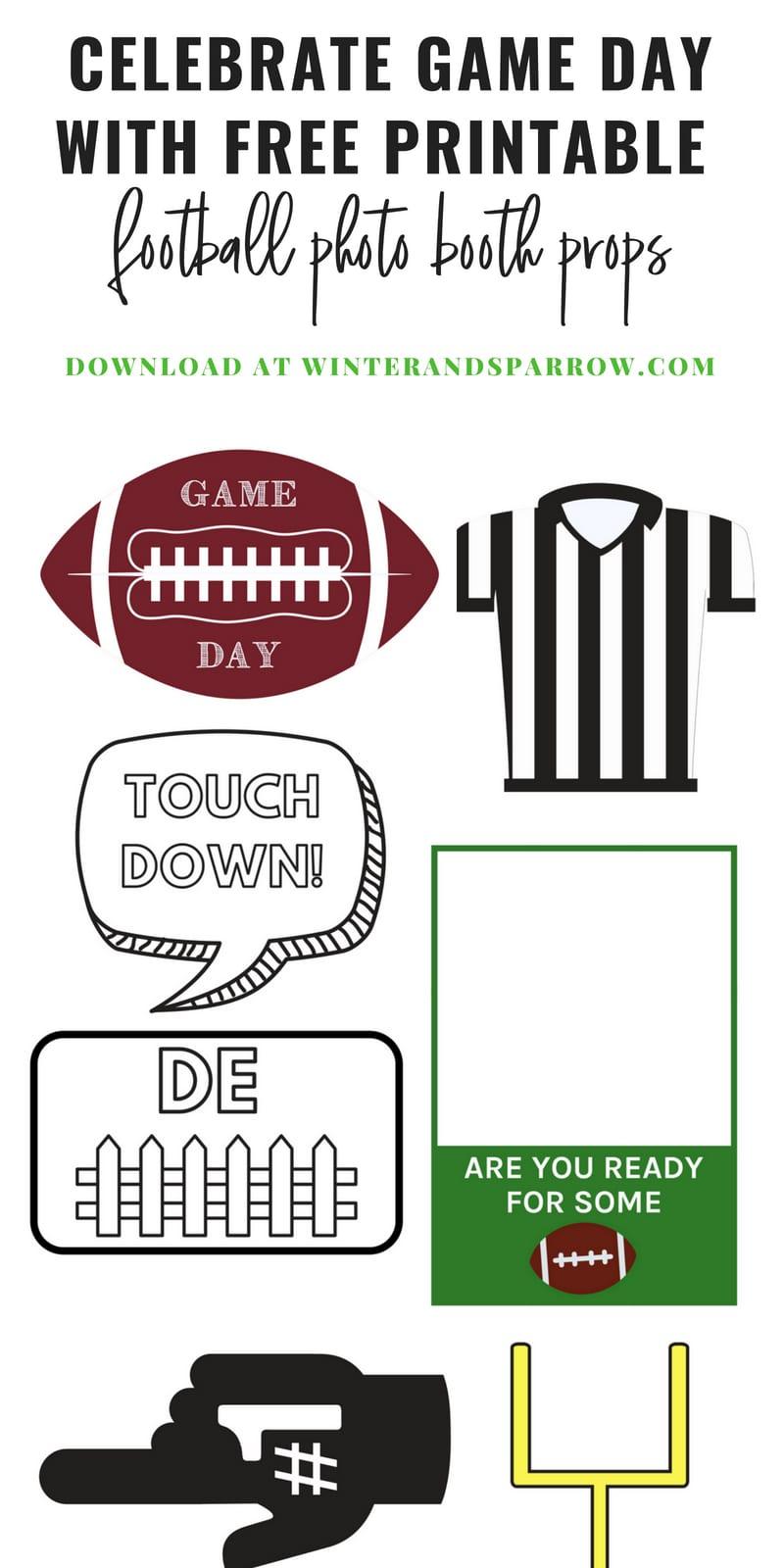 Celebrate Game Day With Free Printable Football Photo Booth Props   winterandsparrow.com #photobooth #footballseason #fridaynightlights