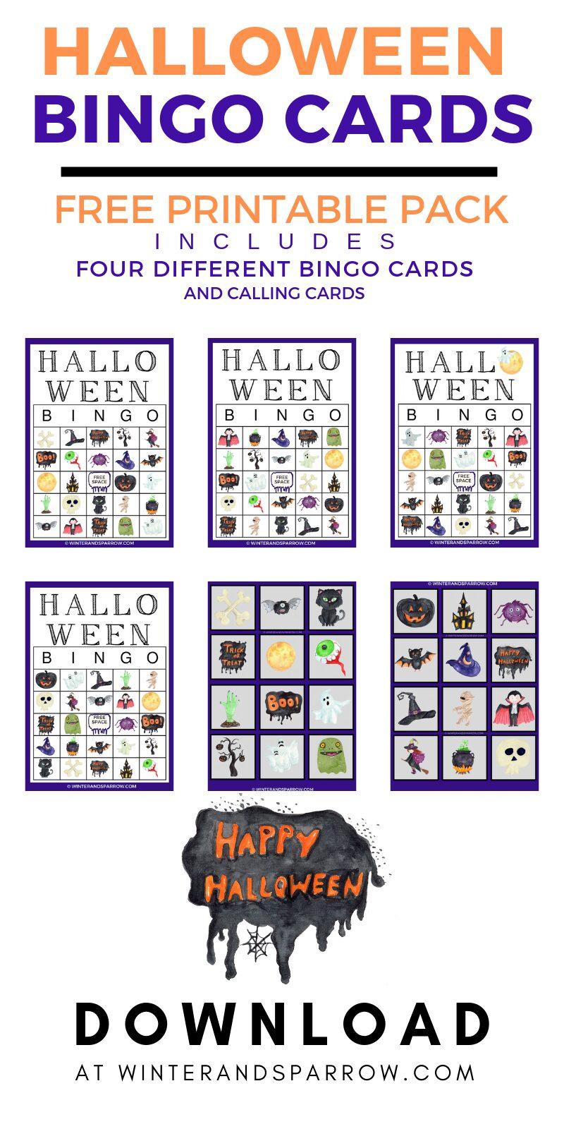 Halloween Printable BINGO Cards:  Includes Four Different Cards Plus Calling Cards | winterandsparrow.com #halloweenbingo #halloweenprintables #bingocards #printablebingocards