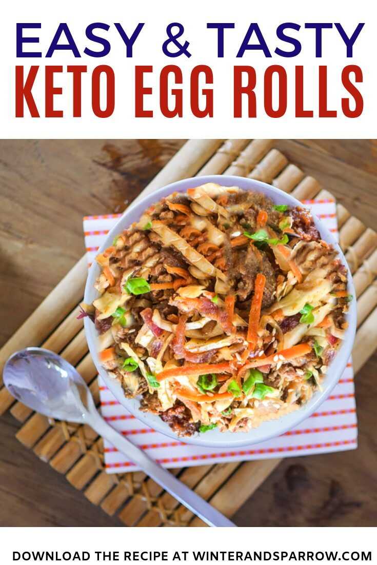 Easy and Tasty Keto Egg Rolls {In a Bowl} | winterandsparrow.com | Picture of meat, cabbage, veggies, in a bowl. #ketorecipes #easyketorecipes #ketodishes