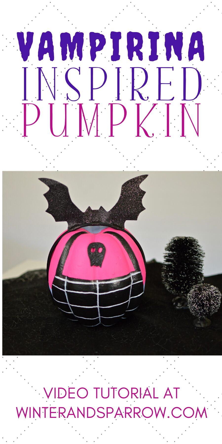 DIY Video Tutorial: A Batty Vampirina Pumpkin | winterandsparrow.com #vampirinapumpkin #vampirina #disneycrafts