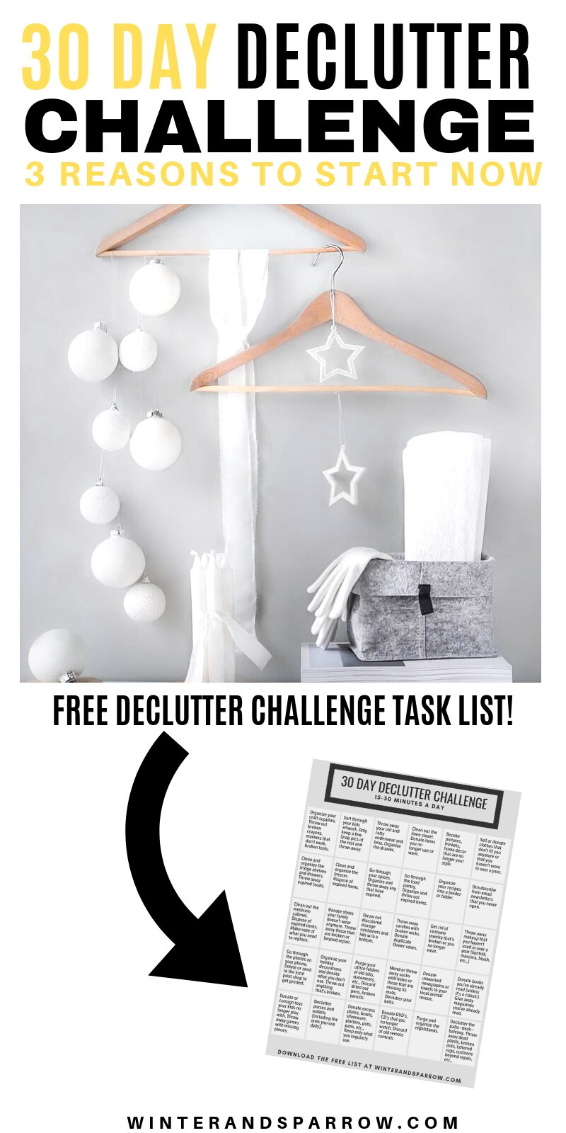 30-Day Declutter Challenge: 3 Reasons To Start Now | winterandsparrow.com #declutterchallenge #declutterchecklist #getorganized