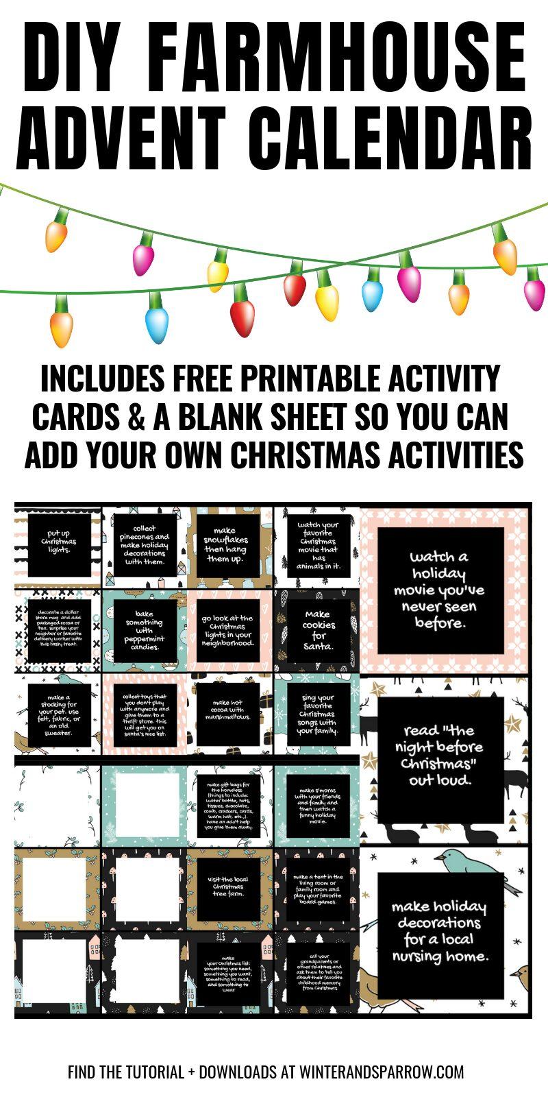 DIY: Farmhouse Advent Calendar + Free Advent Calendar Printables | winterandsparrow.com #adventcalendar #freeadventcalendar #freechristmasprintables