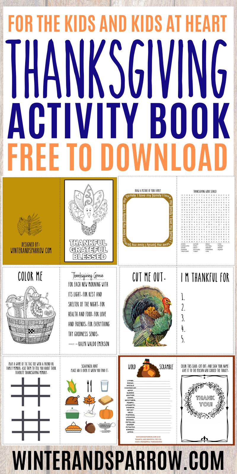 Don't Miss This Thanksgiving Activity Book: 6 Pages Of Printables For Kids + Kids At Heart | winterandsparrow.com #thanksgivingprintables #thanksgivingactivities