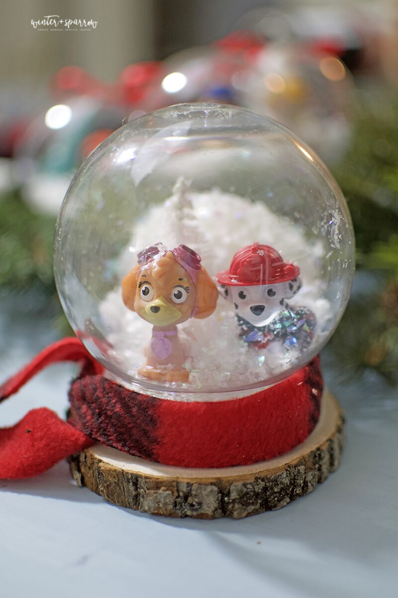 Dollar Store Crafts: Paw Patrol Holiday Ornaments [Totally Cute and Cheap] | winterandsparrow.com #dollarstorecrafts #dollartreecrafts #pawpatrolchristmas #pawpatrolcrafts