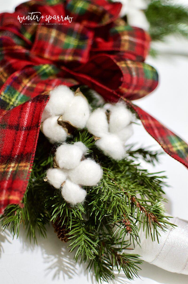 DIY: Make A Tartan Plaid Wreath In 30 Minutes For Less Than $15 [Video Tutorial]   winterandsparrow.com #tartanplaid #plaidwreath #plaidoutdoorwreath