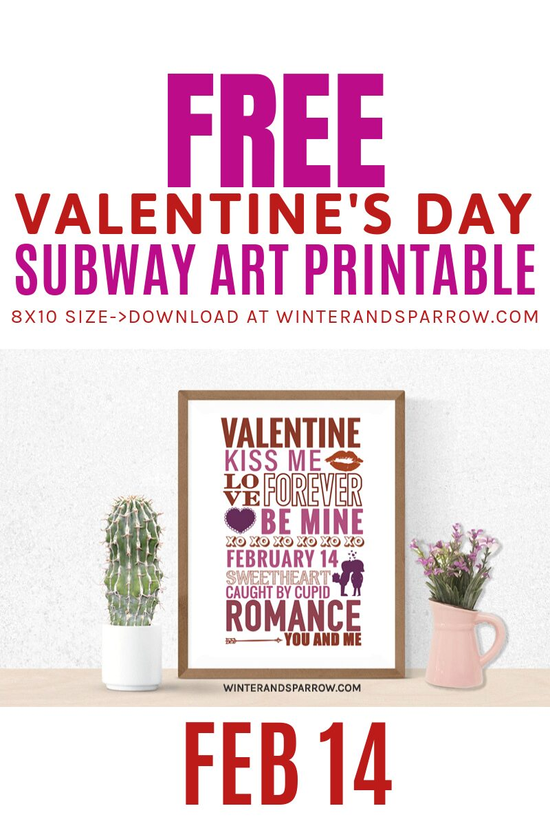 Free Valentine's Day Subway Art Print + Photo Booth Props | winterandsparrow.com #valentinesdaysubwayart #subwayartprintable #valentinesdayphotoprops #valentinesdayphotobooth